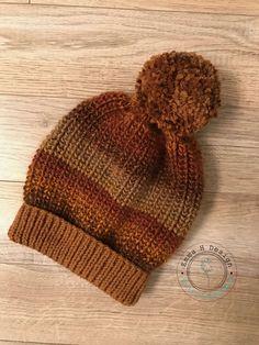 Bonnet adulte, gros pompon et large revers, tricoté main dans laine de qualité aux couleurs dégradées - Produits fabriqués au Québec par Emma H Design