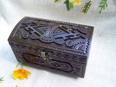 Wooden jewelry box ring box jewelry holders brown by HappyFlying, $45.00