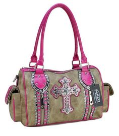Western Brown And Pink Cross Tote Handbag.  #boutique #country