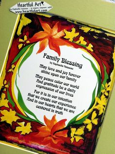 11x14 FAMILY BLESSING (print with mat) of original words and art by Raphaella Vaisseau #family #blessing #prayer #heartfulart #heartful_art #raphaella_vaisseau #home_decor #wall_art