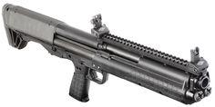 "The Kel-Tec KSG - Bullpup pump action shotgun with duel feed tubes holding seven 2 3/4"" 12-guage shells each."