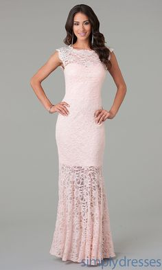 ❤️Lace Evening Gown - in peach or pale blue - these would be lovely for the bridal party