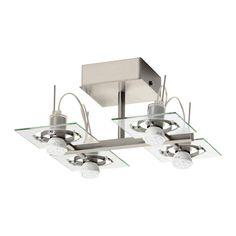 FUGA Ceiling spotlight with 4 spots, chrome plated, clear glass chrome plated/clear glass -