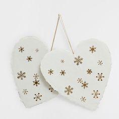 Бумажные белые сердечки с золотистым рисунком (набор из 2 шт.) - ПРЕДМЕТЫ ДЕКОРА - Рождество | Zara Home Россия / Russia