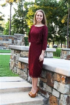 Lucia Cranberry Dot Lace Dress from Beautiful One