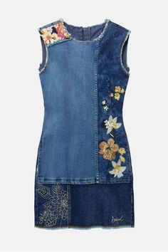 Buy online unique fun fashion dresses and tunics - Desigual, Savage Culture, Free People, Angels Never Die, VOLT - 5 days delivery within Canada. Fashion Sewing, Denim Fashion, Fashion Fashion, Fashion Dresses, Jean Desigual, Embroidered Denim Dress, Mode Jeans, Denim Ideas, Denim Crafts