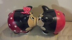 **/ couples piggy bank (though I do like the Mickey & Minnie. Diy And Crafts, Crafts For Kids, Arts And Crafts, Wooden Piggy Bank, Color Me Mine, Mini Pigs, Cute Piggies, Mouse Parties, Peppa Pig