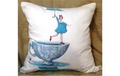 Teacup Demoiselle Limited Edition Pillow Print by by LCFMaison, $150.00