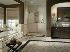 No shower door - not sure I have room but I like it. More >>> http://bathroom-designideas.com/bathroom-tile-design-ideas/