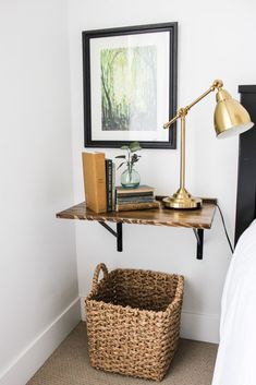 To save space try swapping your bedside table for one of these stylish crafty floating nightstands. To save space try swapping your bedside table for one of these stylish crafty floating nightstands. Crate Nightstand, Bedside Shelf, Nightstand Ideas, Diy Bedside Tables, Bedside Table Styling, Nightstands, Floating Shelves Bedroom, Floating Nightstand, Floating Table