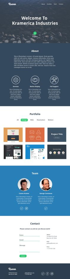 Single Page Portfolio Template HttpDlpsdComSinglePage