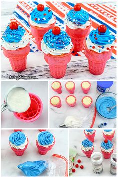 Step-by-step instructions for making cupcakes inside an ice cream cone. Perfect for holidays, birthdays and other celebrations! #cupcakes #kidsparty #artsymommadotcom Cupcake Mix, Cupcake Cones, Making Cupcakes, How To Make Cupcakes, Patriotic Crafts, July Crafts, Independence Day Activities, Patriotic Cupcakes, Mirror Gallery Wall