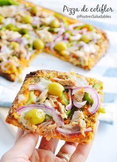 pizza de coliflor saludable