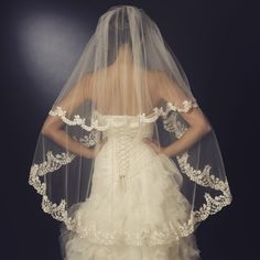 """""""The Jordyn"""" Floral Embroidered Double Layer Veil"""