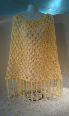 Yellow Poncho Womens Poncho Crocheted Poncho by JANSONESTOPSHOP, $29.99
