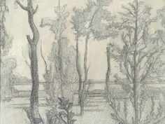 Людмила Томашевская - карандашный рисунок. Деревья у озера