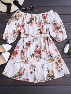 Flower Belted Off Shoulder Mini Dress - WHITE M