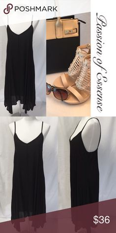 Black Flared Casual Dress Black Sleeveless flared casual dress made in USA 96% Polyester 4% Spandex 4% Elastand Dry Clean Only JNK Dresses High Low