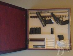 Everyone loves a good DIY project. Pin now and read later how to build your own hidden gun storage. #firearms #DIY
