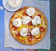 Giant peach, nectarine & apricot meringue tart