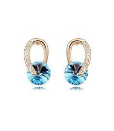 Austrian crystal earrings Swarovski Elements Crystal Alloy Plated Champagne Gold (Sea blue + champagne gold)earring  YTSE7493