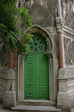 Amazing green church door in Istanbul, Turkey #green #door #cathedral
