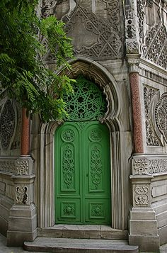 Amazing green church door in Istanbul, Turkey #green #door #cathedral