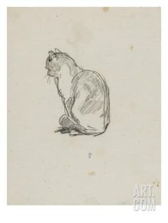 Etude de chat (Villiers) by Thomas Couture Pencil Portrait Drawing, Cat Drawing, Painting & Drawing, Cool Art Drawings, Art Drawings Sketches, Animal Sketches, Animal Drawings, Illustration Art, Illustrations