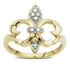 ($268.00) 14k Yellow Gold Fleur-de-Lis Diamond Ring (.03 ct, I-J Color, I2 Clarity), Size 7   From Amazon.com Collection