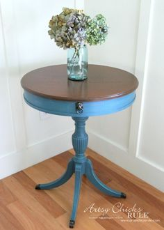 French Round Side Table Makeover (Aubusson Blue, Florence and Provence) Furniture Rehab, Table, Furniture Restoration, Furniture Makeover, Diy Furniture Renovation, Round Wood Table, Wood Table, Table Makeover, Vintage Side Table