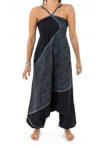 Combinaison sarouel femme ethnic mosaic noir gris