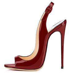 ELASHE Femmes Fashion 12cm Sandales Décolletés Bout Ouverts Chaussures à talon haut de Bordeaux EU35