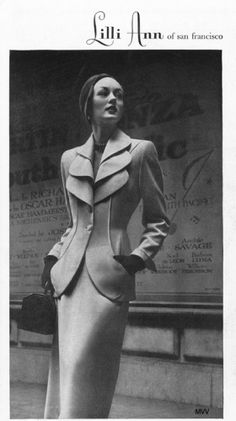 Lilli Ann 1949 - Model Alice Bruno. This suit is beautiful, it would not look out of place today.