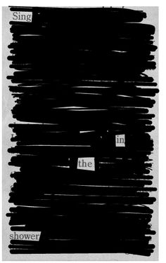 Newspaper Blackout, new portrait idea. Have someone make their own, and take their picture with it. maybe cut out holes for their eyes or something... hmmm...