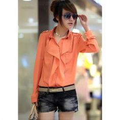 $12.40 Double-Pocket Design Ruffled Collar Long Sleeve Jacinth Chiffon Shirt For Women