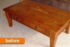 Before & After: Two Tone Coffee Table Makeover Paisley and Polka Dot Threads