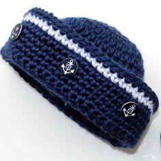 free crochet baby sailor hat pattern - Google Search