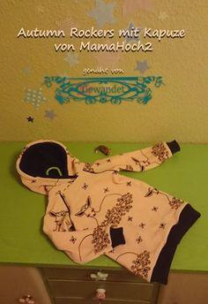 Unsere Kapuzenerweiterung macht aus dem Pulli einen schicken Hoodie! Autumn Rockers, Hoodies, Sewing, Diy, Sewing Patterns Baby, Sewing For Kids, Cowl, Guys, Sweatshirts