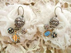old medal earrings religious roses assemblage by lilyofthevally