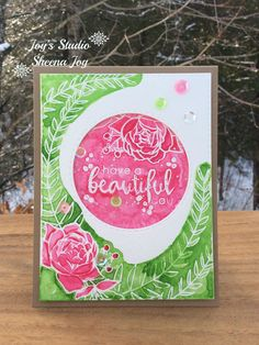 https://flic.kr/p/NwtAZk | Have A Beautiful Day | I made this card with the Floral Frame stamp set (Altenew) with Gansai Tambi Watercolors. #altenew #SheenaJoy #JoysStudio