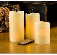 Everlasting Glow Led Ivory Pillar Candles Decor With Remote Control (Set of 3) #Candles #Everlasting #Glow #LedIvory #Pillar #RemoteControl #BatteryOperated #GardenDecor #HomeDecor #Kitchen  #Seasonal #Setof3