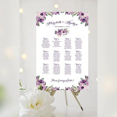 #Weddings #seating #chart #printable #signs #template #affordable #purple #blooms #decorative