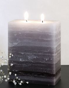 Shades of Gray Pillar Candle Two Wick – Nordic Candle