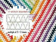 Jednoduchý vzor, ktorý môžete použiť nie len na deku. crochet v-stitch blanket - the link is broken, but the little diagram tells you what you need to make it! Works for any size: begin by chaining any multiple of three stitches, plus two for the ed V Stitch Crochet, Mode Crochet, Crochet Diy, Crochet Motifs, Crochet Diagram, Crochet Chart, Crochet Squares, Crochet Blanket Patterns, Learn To Crochet