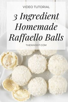 These three ingredient homemade raffaello coconut almond balls are no bake, easy to make and incredibly delicious. Kokos Desserts, Coconut Desserts, Coconut Macaroons, Three Ingredient Cookies, 3 Ingredient Desserts, Three Ingredient Recipes, Best Dessert Recipes, Sweet Recipes, Desert Recipes