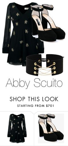 """""""Abby Scuito"""" by moose-notmoose-clarence ❤ liked on Polyvore featuring Yves Saint Laurent and Jimmy Choo"""