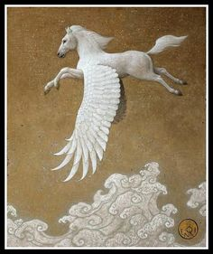 "►Greek Mythology: ""Pegasus, The Winged Horse"".-   La Audacia de Aquiles Pegasus by Toshiyuki Enoki. 20th century."