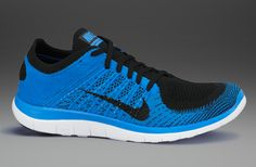 Nike Free Flyknit 4.0 - Mens Running Shoes - Black-Black-Photo Blue-White