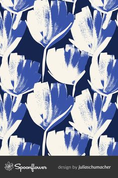 Shop this print by Julia Schumacher and your favorite indie designs on fabric, wallpaper and home decor products, all printed with eco-friendly inks and handmade in the United States. Floral Patterns, Floral Designs, Textures Patterns, Print Patterns, Floral Prints, Surface Pattern, Surface Design, Indigo Flower, Artwork Ideas