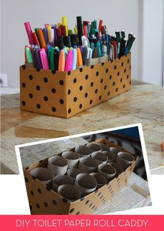 Clever: turn empty toilet paper rolls and a shoe box into a storage caddy! Perfect for kids art supplies... DIY